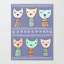 Kokeshi Kitties with Purple Background Canvas Print