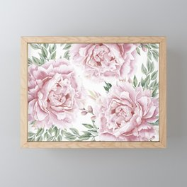 Coral Watercolor Roses Framed Mini Art Print