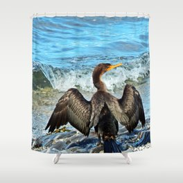 Cormorant Dries off in front of the Sea Shower Curtain
