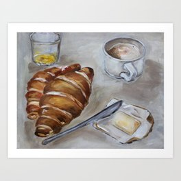 French breakfast, coffee and croissant, original oil painting, daily traditional art Art Print