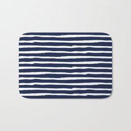 Navy Blue Stripes on White II Bath Mat