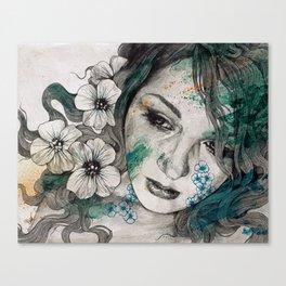 Cleopatra's Sling (flower tattoo lady portrait drawing) Canvas Print