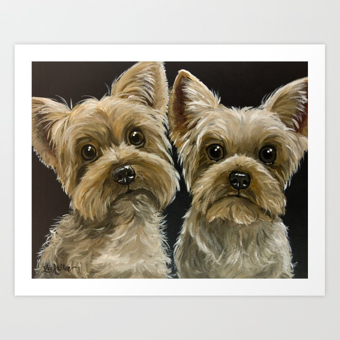 Yorkie Painting Cute Yorkies Pet Art Art Print By Leekeller