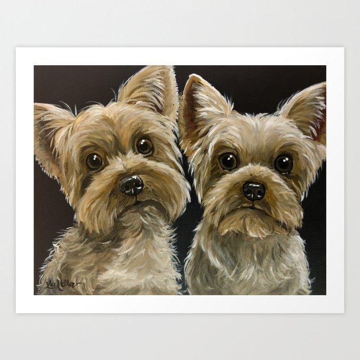 Yorkie Painting Cute Yorkies Pet Art Art Print By Leekeller