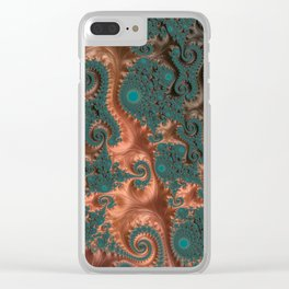 Copper Leaves - Fractal Art Clear iPhone Case