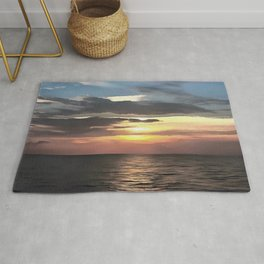 Pefect Living Coral Colored Ocean Sunrise Rug