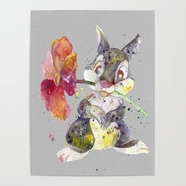 Bunny With flower Poster