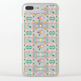 Floral garden Repeat Pattern Illustrated Print Clear iPhone Case