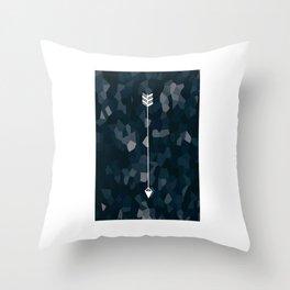 Blue Geometric Polygon White Single Arrow Throw Pillow