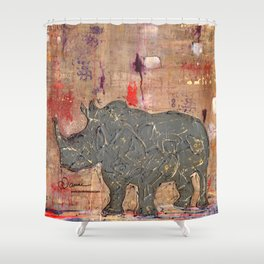 majestic series: rhino's are tough enough Shower Curtain