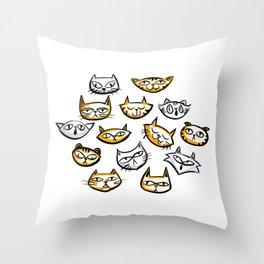 Cat Clowder Throw Pillow