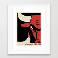 chicago bulls Framed Art Prints featuring Bulls by racPOP