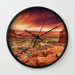 Arches at Sunset Wall Clock