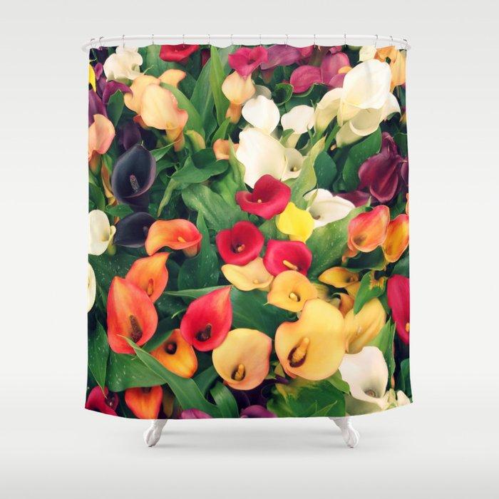 Rainbow Calla Lily Shower Curtain