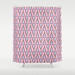Dragonfruit - Pink Doodle Pattern Shower Curtain