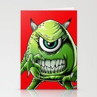 monsters inc Stationery Cards featuring Mike Monsters Inc. by J. J.