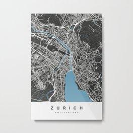 Zurich - Switzerland   Black & Blue Color Metal Print