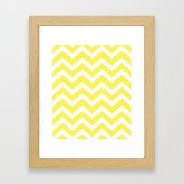 Lemon yellow - yellow color - Zigzag Chevron Pattern Framed Art Print