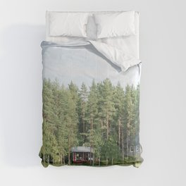 Cabin by the lake in Finland Comforters