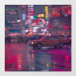 Tokyo Night Taxi Canvas Print