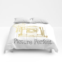 Gold Vintage Camera Picture Perfect  Comforters