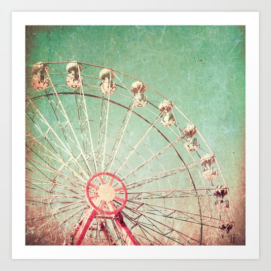 Ferris Wheel on Blue Textured Sky  Art Print