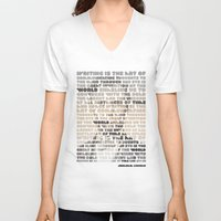 lincoln V-neck T-shirts featuring Lincoln by Sandra T