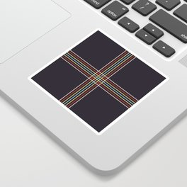 Retro Colored Thin Lined Cross Sticker