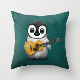 Musical Baby Penguin Playing Acoustic Guitar on Teal Blue Throw Pillow