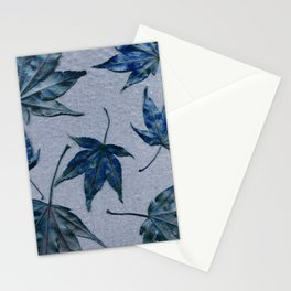Japanese maple leaves - blue on faded lavender Stationery Cards