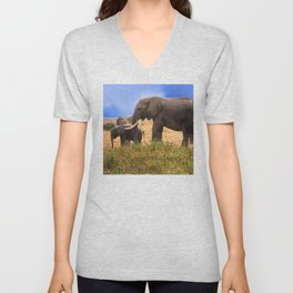 Baby Elephant With Elephant Parents In Kenya, Africa Unisex V-Neck