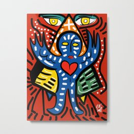 Blue Angel of Love with Eyes of Wisdom Street Art Metal Print