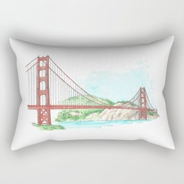 Golden Gate Bridge Watercolor Painting   San Francisco, California Rectangular Pillow