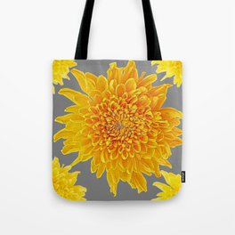 Golden Yellow Chrysanthemums grey color Art Design Tote Bag