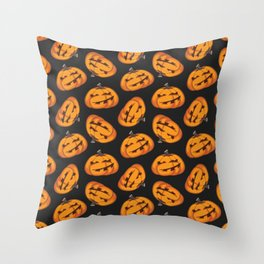 Smiling Pumpkin Pattern Throw Pillow