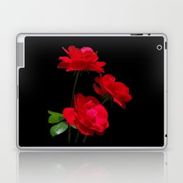 Red roses on black background Laptop & iPad Skin