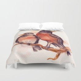 Two Robins Duvet Cover