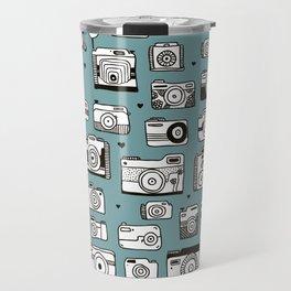 Smile action toy camera vintage photography pattern Travel Mug