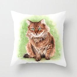 Somali cat portrait Throw Pillow