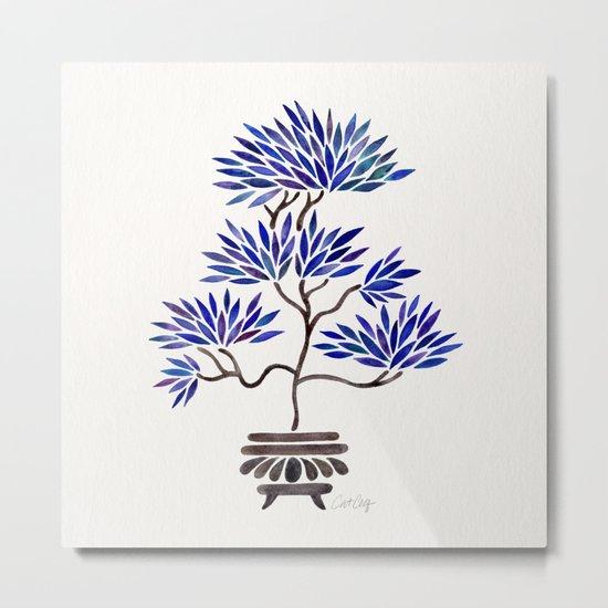 Bonsai Tree – Navy Palette Metal Print