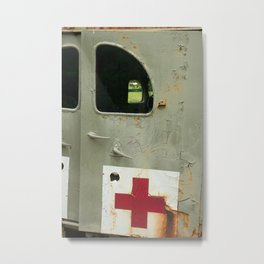 Old military ambulance with rust on the doors. Metal Print