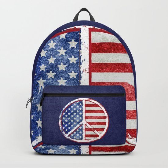 Watercolor Patriot Peace Symbol Stars and Stripes USA Flag Backpack