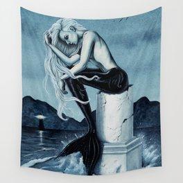 Stormy Seas Gothic Mermaid Wall Tapestry