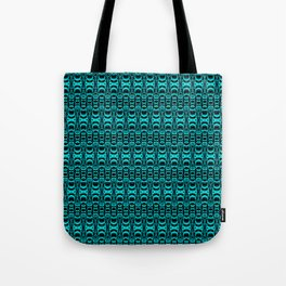 Abstract Pattern Dividers 07 in Turquoise Black Tote Bag