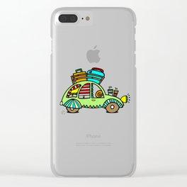 A Roadtrip with My Green Citroen 2CV! Clear iPhone Case