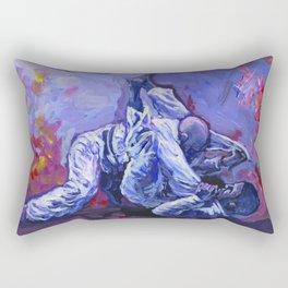 Brazilian jiu jitsu painting with fire background Rectangular Pillow