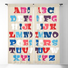 Typography Alphabet from A to Z Blackout Curtain