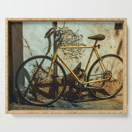 Old Bike Against And Old Wall Serving Tray