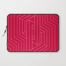 Modern minimal Line Art / Geometric Optical Illusion - Red Version  Laptop Sleeve