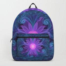 Blown Glass Flower of an ElectricBlue Fractal Iris Backpack